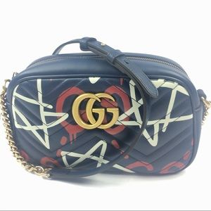 Gucci #447632 Marmont Blue Ghost Print Crossbody